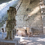 Mayan symbol stairs.  Every step has Mayan writing on it.